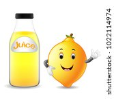 Bottle Of Lemon Juice With Cute ...
