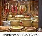 traditional market  garlic ...   Shutterstock . vector #1022117497