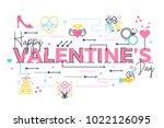 happy valentine's day word...   Shutterstock .eps vector #1022126095