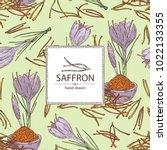 background with saffron  flower ... | Shutterstock .eps vector #1022133355