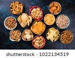 salty snack including peanuts ...   Shutterstock . vector #1022134519