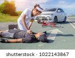 female nurse helping emergency... | Shutterstock . vector #1022143867
