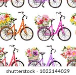 bicycles with flowers in basket.... | Shutterstock . vector #1022144029