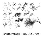 realistic set of tree branches  ... | Shutterstock .eps vector #1022150725