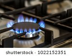 natural gas burning on kitchen... | Shutterstock . vector #1022152351