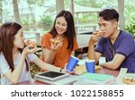 asian group together eating... | Shutterstock . vector #1022158855