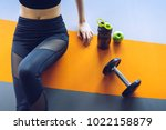 woman exercise workout in gym... | Shutterstock . vector #1022158879