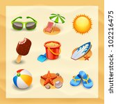 beach icon set | Shutterstock .eps vector #102216475