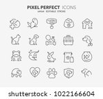thin line icons set of pets and ... | Shutterstock .eps vector #1022166604