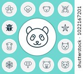 zoo icons set with panda ... | Shutterstock .eps vector #1022167201
