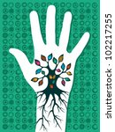 Go green concept tree in hand with roots as veins. Vector file layered for easy manipulation and custom coloring. - stock photo