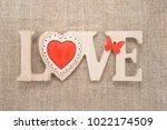 love sign on a burlap... | Shutterstock . vector #1022174509
