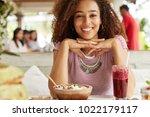 pleasant looking dark skinned... | Shutterstock . vector #1022179117