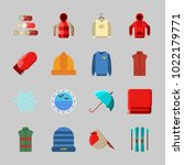 icons about winter with hoodie  ... | Shutterstock .eps vector #1022179771
