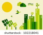 Go green city. Industry sustainable development with environmental conservation background illustration. Vector file layered for easy manipulation and custom coloring. - stock photo