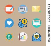 icons marketing with bar chart  ... | Shutterstock .eps vector #1022187631