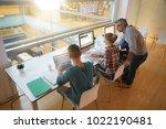 upper view of students in class ...   Shutterstock . vector #1022190481