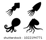 squid  octopus and cuttlefish... | Shutterstock .eps vector #1022194771
