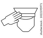 icon of a saluting serviceman.... | Shutterstock .eps vector #1022195971