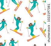 winter sport seamless pattern.... | Shutterstock .eps vector #1022197381