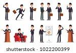 big set of businessman... | Shutterstock .eps vector #1022200399
