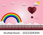 valentine's day balloons in a... | Shutterstock .eps vector #1022204344