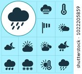 weather icons set with vane ... | Shutterstock . vector #1022205859