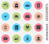 religion icons set with kareem  ... | Shutterstock . vector #1022205871