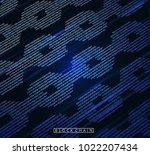 blockchain digital illuminated... | Shutterstock .eps vector #1022207434