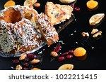 fruit cake dessert fig and... | Shutterstock . vector #1022211415