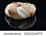 jewish bagel with sesame on... | Shutterstock . vector #1022214475