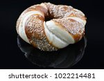 jewish bagel with sesame on... | Shutterstock . vector #1022214481