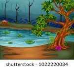forest scene with lake | Shutterstock .eps vector #1022220034