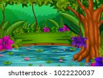 forest scene with lake | Shutterstock .eps vector #1022220037