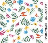 white background flowers line... | Shutterstock .eps vector #1022226145