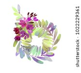 watercolor floral wreath. white ... | Shutterstock . vector #1022229361