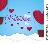 paper hearts valentines day... | Shutterstock .eps vector #1022231341