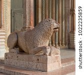 lion of the cathedral  modena ... | Shutterstock . vector #1022235859