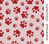 Red Paw Print With Pink...