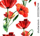 bright watercolor seamless with ... | Shutterstock . vector #1022236744