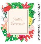 tropical garden beside beach... | Shutterstock .eps vector #1022247325