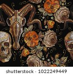 embroidery bull and human skull ... | Shutterstock .eps vector #1022249449
