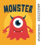 one eyed monster with horns | Shutterstock .eps vector #1022253589