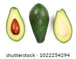half avocado isolated on white... | Shutterstock . vector #1022254294