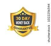 golden shield money back in 30... | Shutterstock .eps vector #1022256544