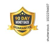 golden shield money back in 90... | Shutterstock .eps vector #1022256607