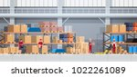 warehouse interior box on rack... | Shutterstock .eps vector #1022261089