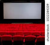 empty red chair in the cinema ... | Shutterstock . vector #1022284339