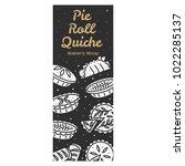 meat pie  roll  quiche vector... | Shutterstock .eps vector #1022285137