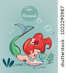 cute cartoon mermaid | Shutterstock .eps vector #1022290987